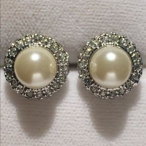 Vintage Pearl and Crystal Earrings